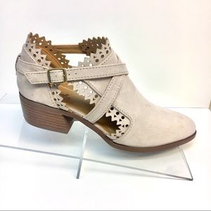 Laser Cut Lacey Strap Ankle Boot - Sand Tan